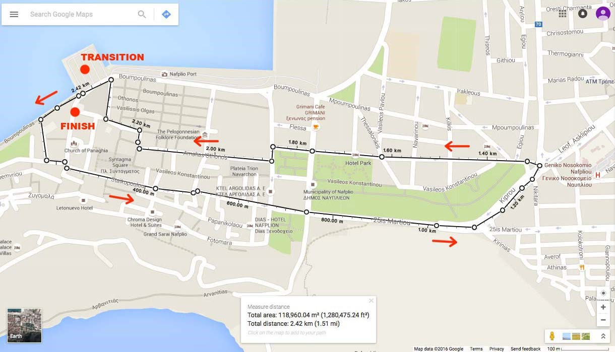 Nafplio Energy Triathlon_running route